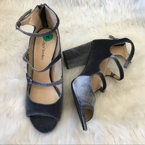 072a470dea7 Zigi Soho Shoes - Trendy Velvet Mary Jane Caged Block Heels 9.5
